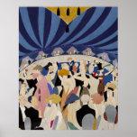 Jazz Age Art Deco Dancing couples dance hall art Poster