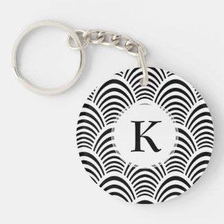Jazz Age Art Deco Elegance Black and White Double-Sided Round Acrylic Key Ring