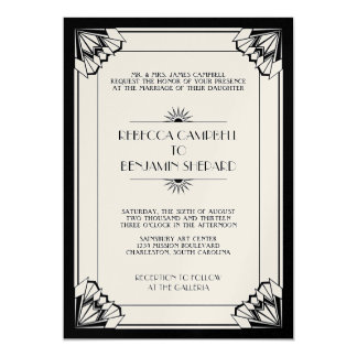 Jazz age black geometric art deco wedding card