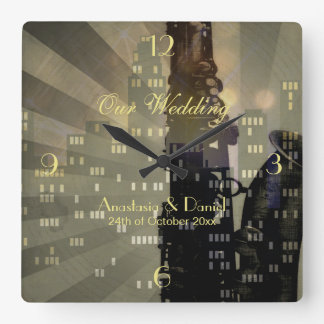 Jazz Age Saxophone City Skyline Wedding Gift Square Wall Clock
