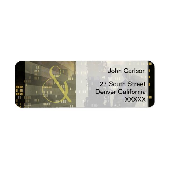Jazz Age Saxophone City Skyline Wedding Set Return Address Label