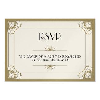 Jazz age taupe Art Deco RSVP wedding response Card