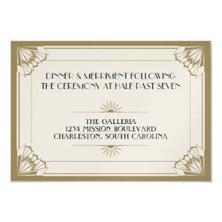 Jazz age taupe art deco wedding reception card