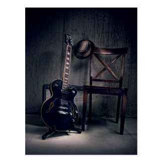 jazz and blues guitar, player stepped out postcard