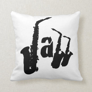 Jazz Black Sax Choose your color background Pillow