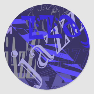 Jazz Blue on Blue Classic Round Sticker