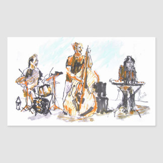 Jazz Concert Trio Rectangular Sticker