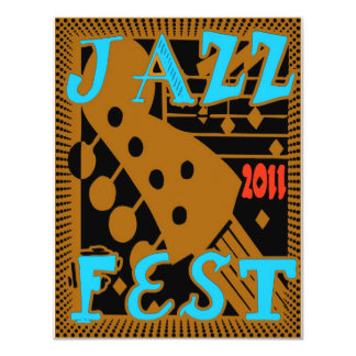Jazz Fest 2011 Guitar 11 Cm X 14 Cm Invitation Card
