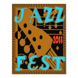 Jazz Fest 2011 Guitar 11 Cm X 14 Cm Invitation Card