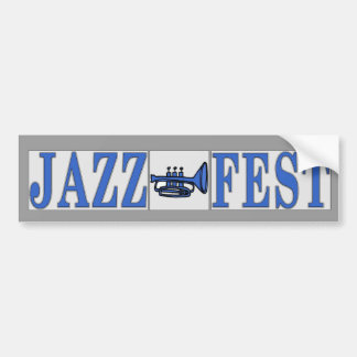 Jazz Fest Blue Horn & Letters Bumper Sticker