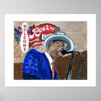Jazz Fest Blues Singer Poster
