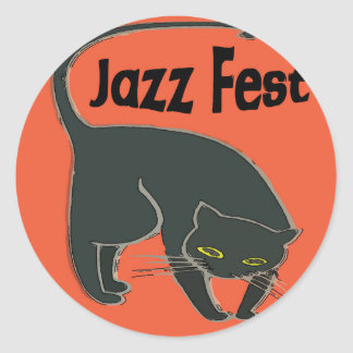 Jazz Fest Chat Noir, Red 2015 Classic Round Sticker