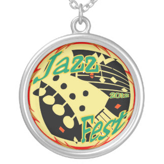Jazz fest Guitar 12 Silver Plated Necklace