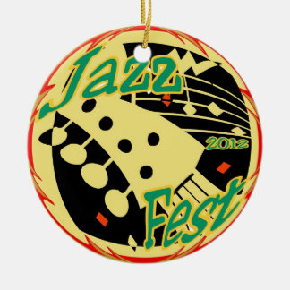 Jazz Fest Guitar 2012 Round Ceramic Decoration
