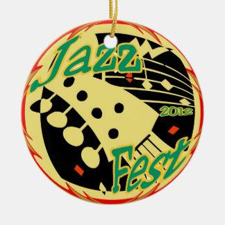 Jazz Fest Guitar 2012 Round Ceramic Decoration