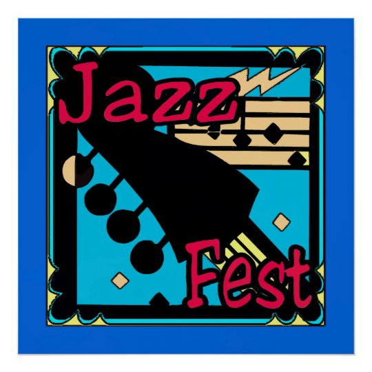 Jazz Fest Guitar in Blue Poster