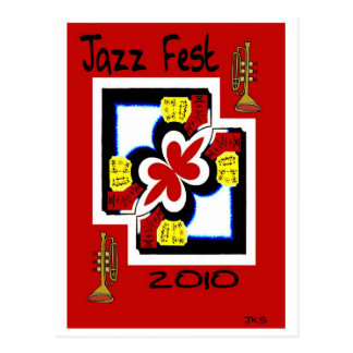 Jazz Fest Japanese Print Abstract Postcard