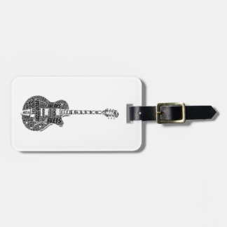 Jazz Guitar Shaped Word Art Black Text Bag Tag