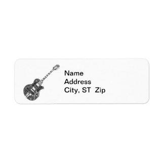 Jazz Guitar Shaped Word Art Black Text Return Address Label
