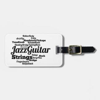 Jazz Guitar Word Cloud Black Text Bag Tag