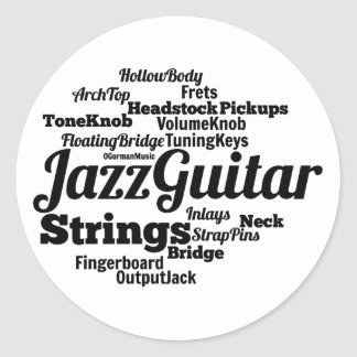 Jazz Guitar Word Cloud Black Text Round Sticker