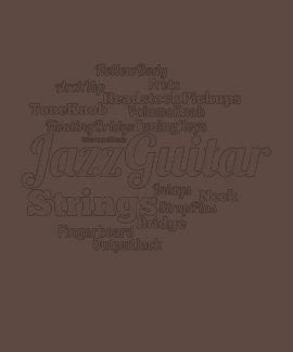 Jazz Guitar Word Cloud White Text Tshirts