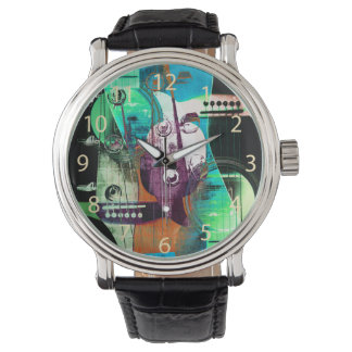 jazz improvisation urban acoustic guitar collage wristwatches