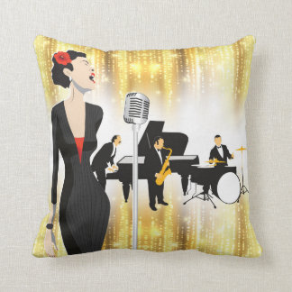Jazz In The Park 16x16 Pillow, Music Theme Cushion