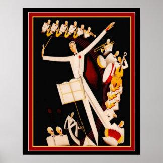 """Jazz Maestro"" Art Deco Print 16 x 20"