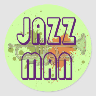 JAZZ MAN CLASSIC ROUND STICKER