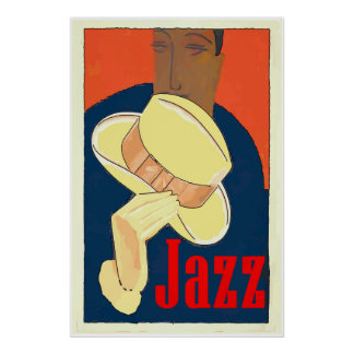 Jazz Man with Yellow Hat Poster