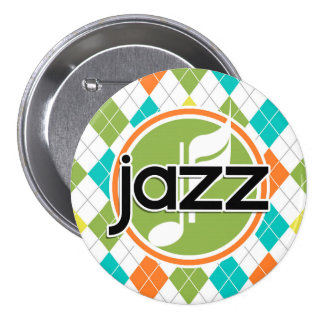 Jazz Music; Colorful Argyle Pattern Buttons