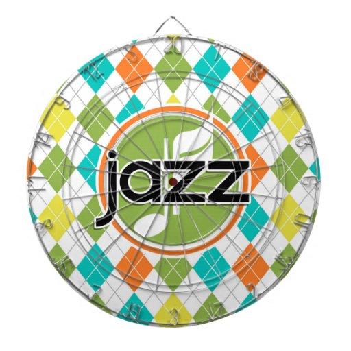 Jazz Music; Colorful Argyle Pattern Dartboard With Darts