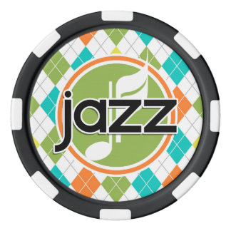 Jazz Music; Colorful Argyle Pattern Poker Chips