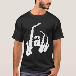 Jazz Music Sax Letters Men Black Shirt