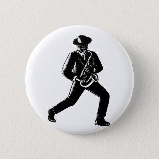 Jazz Musician Playing Sax Woodcut 6 Cm Round Badge