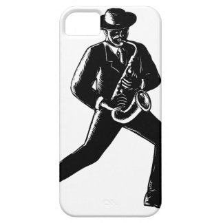 Jazz Musician Playing Sax Woodcut Barely There iPhone 5 Case