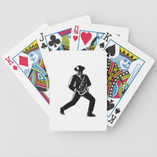 Jazz Musician Playing Sax Woodcut Bicycle Playing Cards