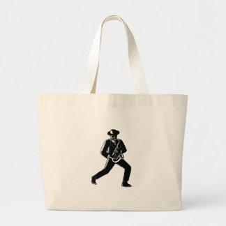 Jazz Musician Playing Sax Woodcut Large Tote Bag