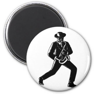 Jazz Musician Playing Sax Woodcut Magnet