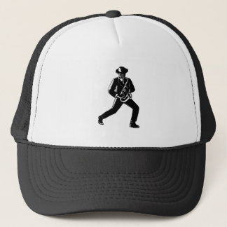 Jazz Musician Playing Sax Woodcut Trucker Hat