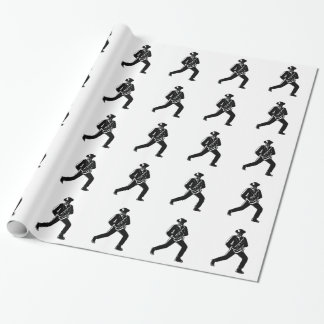 Jazz Musician Playing Sax Woodcut Wrapping Paper