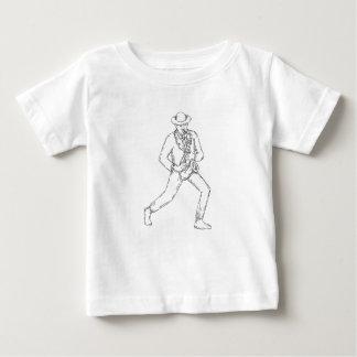 Jazz Musician Playing Saxophone Monoline Baby T-Shirt