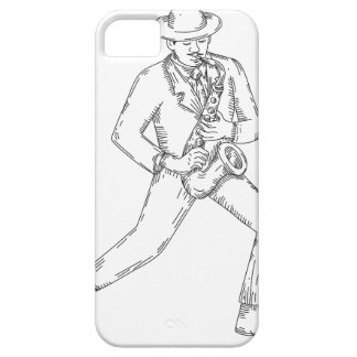 Jazz Musician Playing Saxophone Monoline Case For The iPhone 5