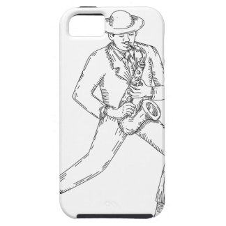 Jazz Musician Playing Saxophone Monoline iPhone 5 Cover
