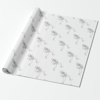 Jazz Musician Playing Saxophone Monoline Wrapping Paper