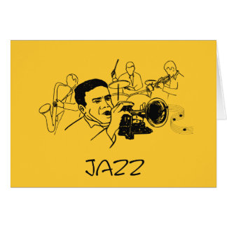 JAZZ musician with trumpet and musical notes Greeting Card