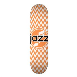 Jazz Orange and White Chevron Custom Skate Board