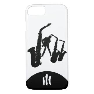 Jazz Sax Black Saxophonist 2 Monogram Iphone Case
