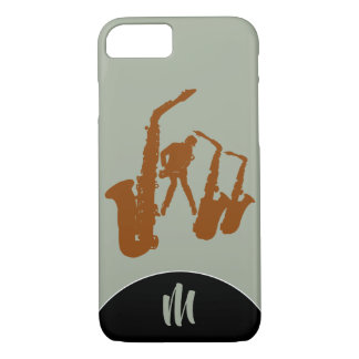 Jazz Sax Brown Saxophonist Monogram Iphone Case